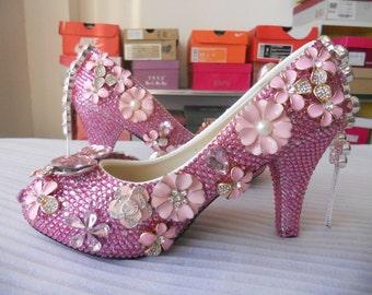US 5.5  Pink Rhinestones Women Wedding Shoes High Heels Women Pumps Women Party Shoes Ankle Bandage Women Wedding shoes  40% Off