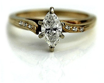 1970s Vintage Marquis Engagement Ring .58ctw in 14 Kt Yellow Gold