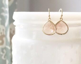 MOLLY | Blush Bridesmaid Earrings | Peach Bridesmaid Earrings | Peach Gold Earrings | Blush And Gold Earrings | Blush Peach Dangle Earrings