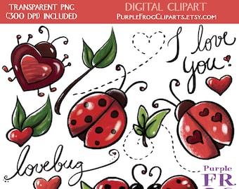 Arte de Clip LOVEBUG - Digital imágenes prediseñadas. 15 imágenes, 300 dpi. JPEG, archivos png. Descarga inmediata.