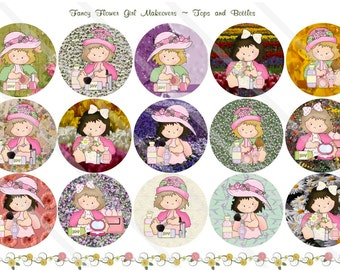 Fancy Flower Girl Makeovers 1 Inch Circles Collage Sheet for Bottle Caps, Hair Bows, Scrapbooks, Crafts, Jewelry & More