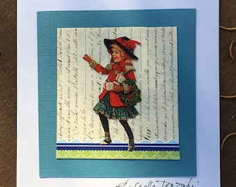 Vintage art card - ORIGINAL COLLAGE - The check skirt