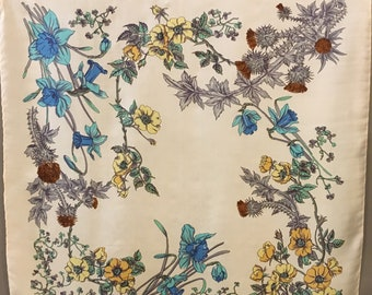 Liberty of London Silk Floral Scarf, Scottish Thistle Scarf, Designer Floral Scarf