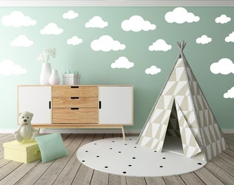 Large Cloud Wall Decal - Clouds Decal - Cloud Sticker - Kid Wall Decor - Baby Room Decal - Nursery Wall Decal - Vinyl Stickers - Set of 25