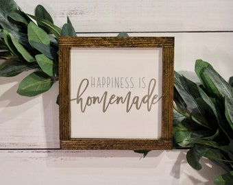 happiness is homemade square sign farmhouse kitchen decor