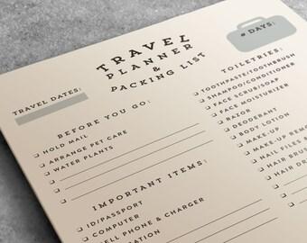 Packing List, Travel Planner Notepad | Wanderlust Travel Journal, Planner, Travel Accessories | Travel Gift