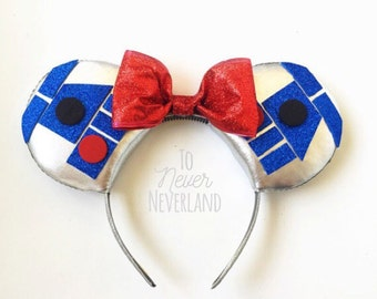 R2D2 Star Wars Ears, R2D2 Disney Inspired Ears, Star Wars Disney Ears, Disney Ears, Star Wars Mouse Ears, Mickey Ears, PRE-ORDER 3-4 Weeks