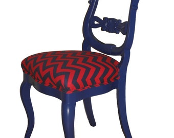 Ornate Refurbished Upholstered Blue Accent Chairs