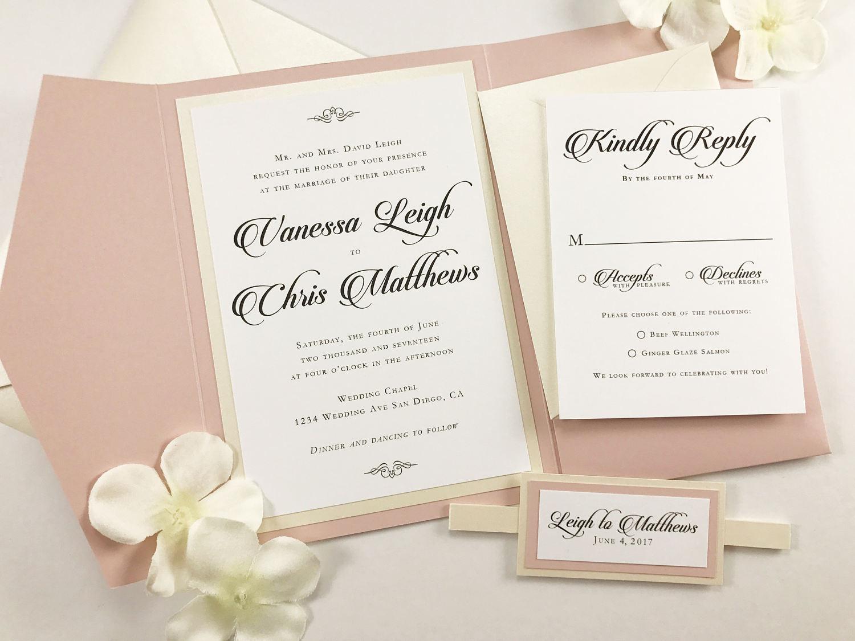 Pocket Wedding Invites Beautiful Blush Pink and Ivory wedding