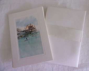 Vintage Hallmark Note Cards Stationery Seagull Fishing Boats Ocean Sea Cape Cod Watercolor