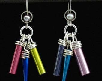Knitting Earrings Multi Color Pearl Gifts for Knitters Dangle Earrings Knitting Jewelry Knitting Gifts Knitting Needle Jewelry