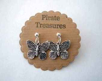 Butterfly earrings - studs, silver butterflies, vintage style antique silver charms, silver plated posts