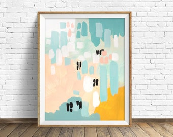 "colorful abstract wall art, large abstract wall art, pastel colors, abstract painting, instant download printable art - ""The Rolling Tide"""