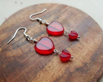 Red glass heart earrings, romantic jewelry for her, red outfit, romance. Anniversary present. Valentine's day gifts, birthday present.