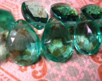2 ea. AAA Florite Quartz Pear Briolette 8X10mm  Beautiful =)