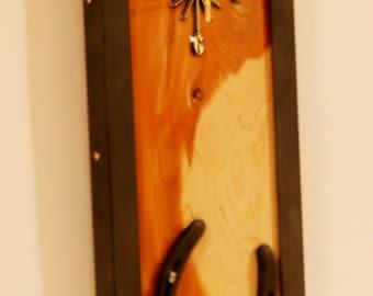 Handmade - One of a kind, Western Decor Horseshoe Clock with Cedar wood and angle iron
