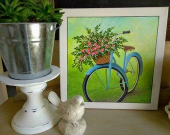 Blue Bicycle Painting, Bicycle Basket of Flowers