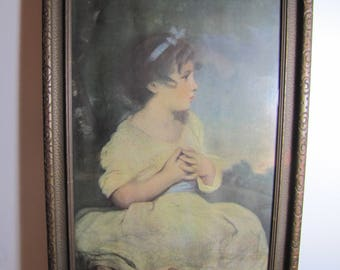 Framed Print - Age of Innocence - Young Girl - Carved Wooden Frame