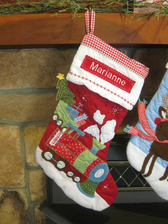 Red Train Stocking Pottery Barn Quilted Stocking RED