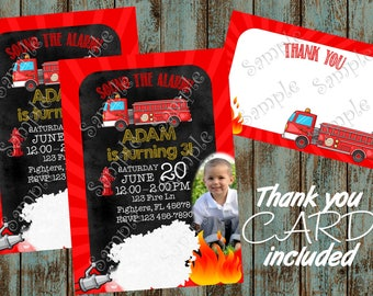Fireman Invitation, Fireman Birthday, Fireman Party, Firefighter Party Invitation, Firefighter Printable Invite, Fire Truck Invitation
