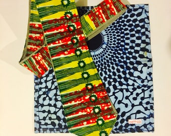 Men's Neck Tie - African - Red, green, yellow, white, grey