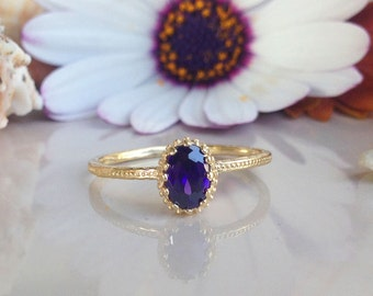 20% off-SALE!! Amethyst Ring - Gold Ring - February Birthstone - Hammered Ring - Stacking ring - Tiny Ring - Gemstone Ring - Purple Ring -