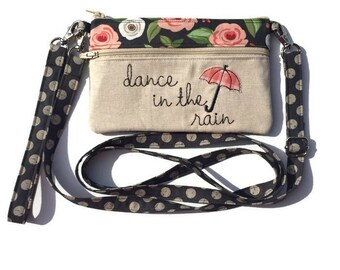 Dance in the Rain, iPhone 6 Purse, Wristlet Wallet, Small Crossbody Bag, Smartphone Wristlet, Cell Phone, Convertible Bag, Text and Tote®