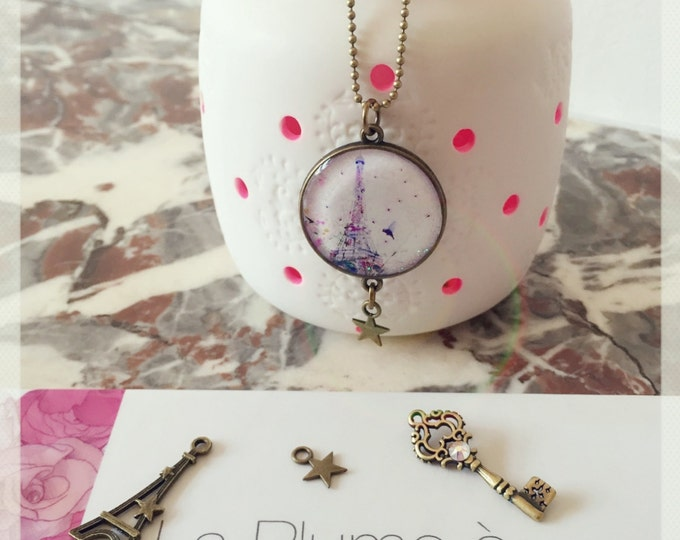 Double-sided necklace custom resin Chacha by Iris CD62-T63