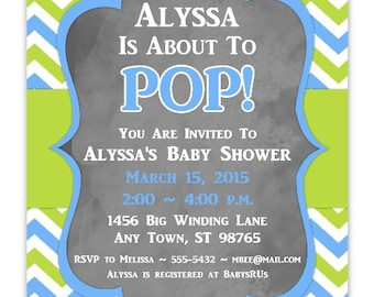 Baby Shower Invitation, Blue and Green Chevron About to Pop Invitation, 4x6 or 5x7, YOU PRINT , blue chevron chalkboard baby shower invit