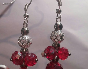 Red crystal glass dangle earrings