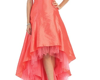 Coral Pink Formal Asymmetrical Pleated-Bodice Party Prom Evening Homecoming Dress 12