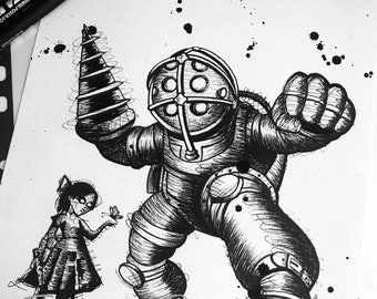 A4 Bioshock Big Daddy and Little Sister Art Print.