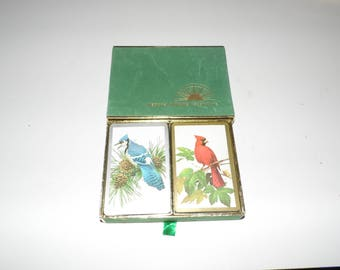 Vintage National Wildlife Federation Cardinal Blue Jay Playing Cards Bridge Case