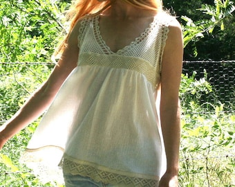 Vintage Victorian Camisole Tank Top in Cream & White Lace- UPCYLED - OOAK S M L