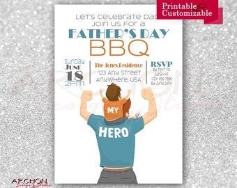Father's Day Invitation - Father's Day BBQ Invitation - My Hero - Printable & Personalized - A-00034