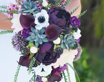 Rustic Succulents Wedding Bouquet -Purple Plum Boho Bridal Bouquet Rustic Wedding Cascading Bouquet Merlot Burgundy Bouquet