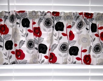 Red Black Gray Floral Mid Century Retro Fabric Valance Curtain Window Treatment Topper