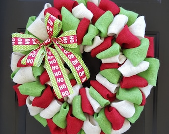 Christmas Burlap Wreath, Burlap Wreath, Holiday Wreath, Red, Lime Green, and White Burlap Wreath with a Red and Green HOHOHO Bow