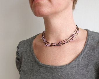 Statement leather necklace layered choker necklace pink glass beads black cords statement choker for women