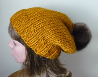 Knit Slouch Hat Faux Fur Pompom Warm Wool Blend Winter Hat Butterscotch with Brown Muskrat Pompom - Ready to Ship - Gift for Her