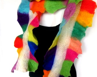 Felted Scarf, Ruffled Wavy, Skinny, Multicolor Rainbow White, Merino Wool Scarf, CUSTOM ORDER