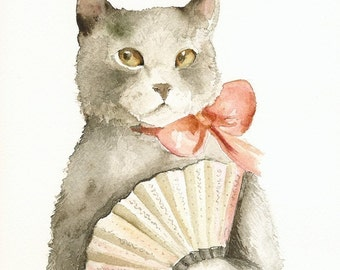 Lady with a Fan- Cat art