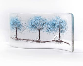 Fused Glass Curve - 3 Blue Trees, Glass Art, Gift, free standing, trees, fused glass trees, glass gift
