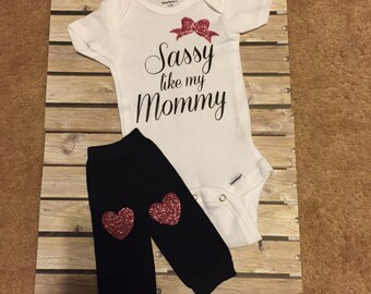 Newborn Sassy Onesie and Leg Warmers