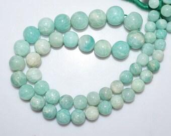 1 Strand Amazonite Round Beads 16 Inch Strand , Amazonite Smooth Round Beads , 7 - 11 mm - MC888