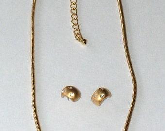 Vintage Necklace Earrings Set - Snake Chain - Rhinestone Rings - Gold Tone - Eighties