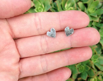 Heart earrings small sterling silver handcut oxidized