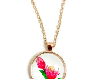 PROTEA FLOWER  NECKLACE ~  Mothers Day Necklace Pink Flower Jewellery Gift For Her Pendant Necklace Floral Garden , Protea #H429