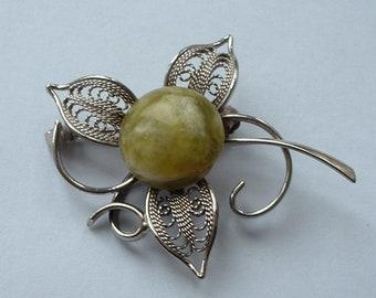 1970s stone set flower brooch
