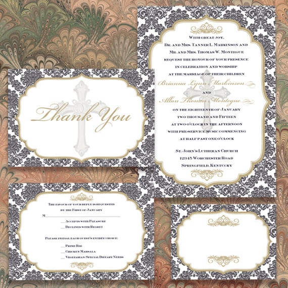 wedding invitations, wedding invitations with rsvp, charcoal and gold wedding invitations, wedding programs, gold wedding package, IN349